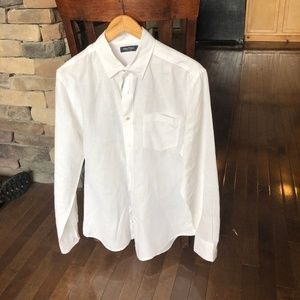 Nautica Bright White Linen Dress Shirt